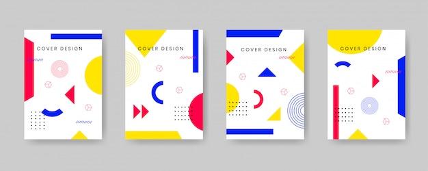 Minimale cover-design-vorlage mit memphis-stil festgelegt