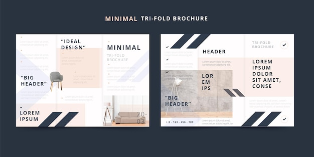 Minimale dreifach gefaltete broschüre ideales designthema