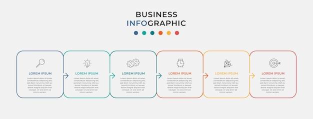 Minimale dünne linie business-infografiken-vorlage. zeitleiste mit 6 schritten, optionen und marketingsymbolen. vektorlineare infografik mit zwei kreiselementen. kann für präsentationen verwendet werden.