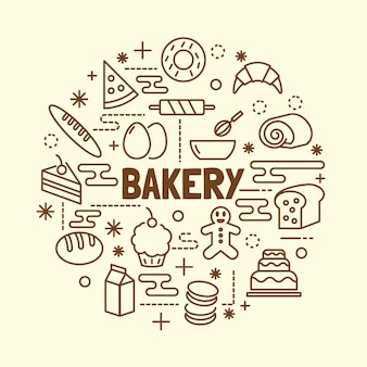 Minimale dünne linie ikonen der bäckerei eingestellt
