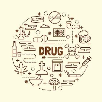 Minimale dünne linie ikonen der droge eingestellt