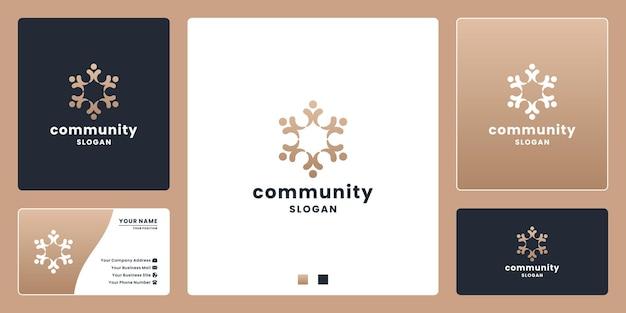Minimale eleganz-community-logo-design für people-team, gruppe