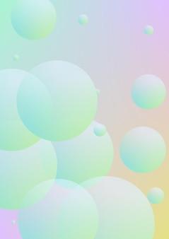 Minimale formen bedecken mit holographischer flüssigkeit. farbverlaufsformen auf lebendigem hintergrund. moderne hipster-vorlage für präsentation, banner, flyer, bericht, broschüre. minimale formen bedecken in neonfarben.