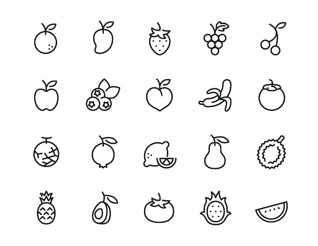 Minimale frucht-icon-set