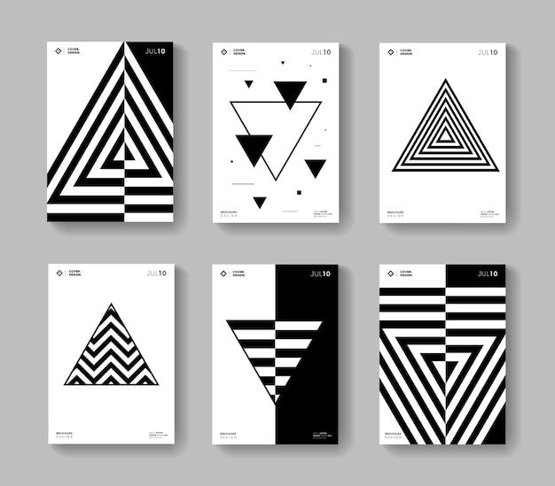 Minimale geometrische abdeckungen eingestellt. sammlung monochrome dreiecksform poster.