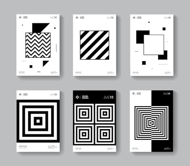 Minimale geometrische abdeckungen eingestellt. sammlung monochrome quadratische poster.