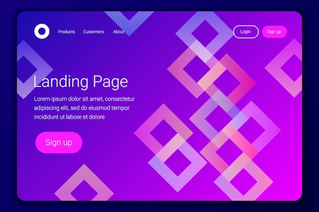 Minimale geometrische landingpage oder web template.