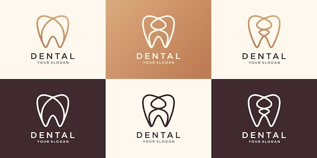 Minimale gesundheit dent logo design vektor vorlage linearen stil. zahnklinik logo-konzept-symbol.