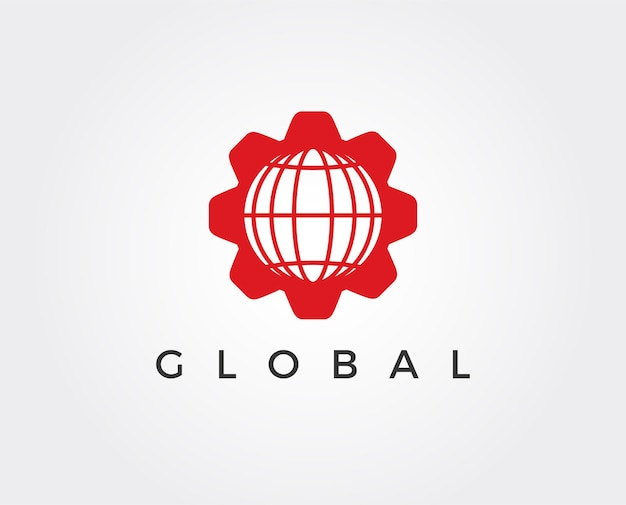 Minimale globale zahnrad-logo-vorlage