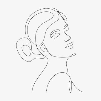 Minimale handgezeichnete illustration der frau. einzeilige zeichnung.