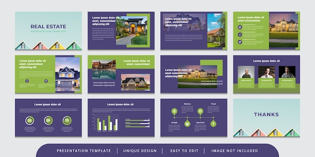 Minimale immobilienfolien bearbeitbare powerpoint-präsentationsvorlage
