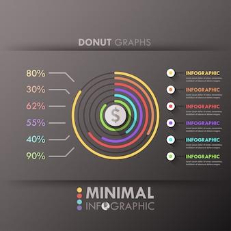 Minimale infografik-optionsvorlage mit donut-diagrammen
