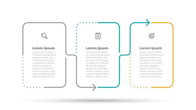 Minimale infografik vorlage für dünne linien 3 optionen oder schritte