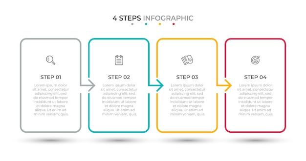Minimale infografik-vorlage für dünne linien 4 optionen oder schritte