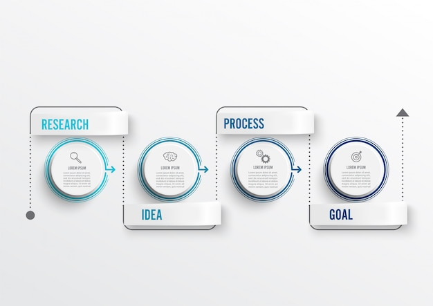 Minimale infografiken mit dünnen linien und 4 optionen oder schritten.