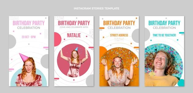 Minimale instagram-geburtstagsgeschichten im flachen design