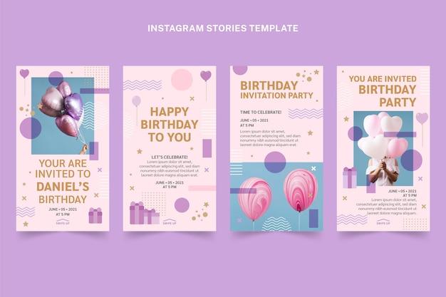 Minimale instagram-geburtstagsgeschichten im flachen stil