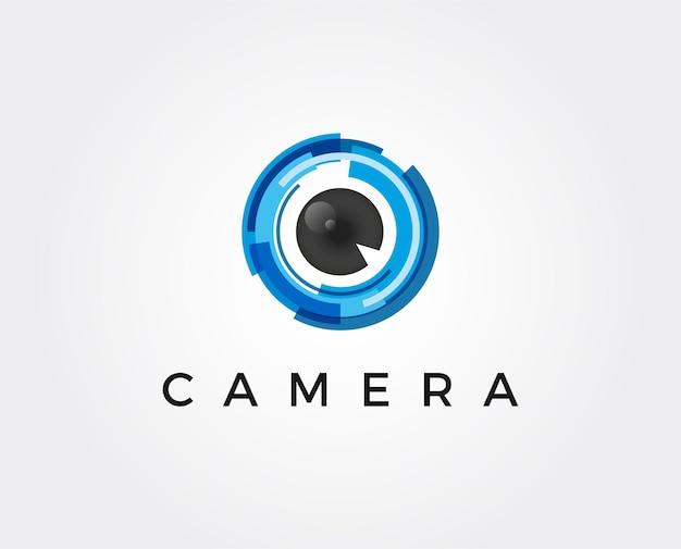 Minimale kameraobjektiv-logoschablonenvektorillustration