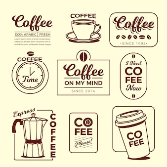 Minimale logo-elementsammlung des kaffees