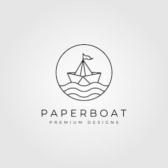 Minimale logo-symbolillustration der papierboot-linienkunst