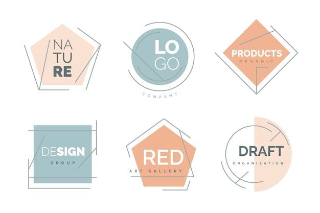 Minimale logosammlung mit pastellfarben