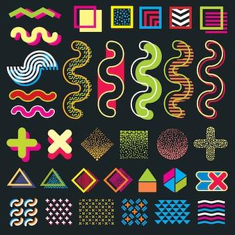 Minimale memphis elemente im 80er stil