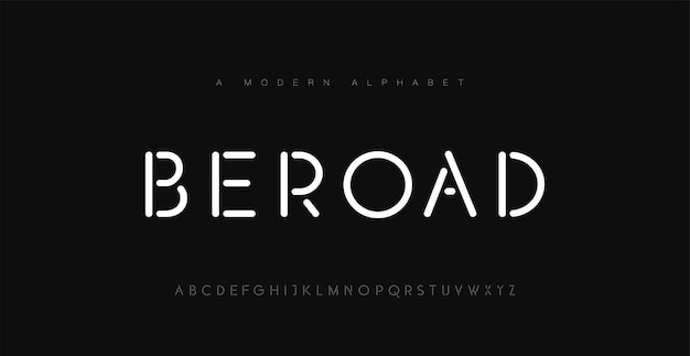 Minimale moderne alphabet-schriften. typografie minimalistisch urban digital neon elektrisch zukunft kreativ