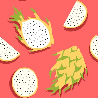 Minimale pitaya, yellow dragon fruit oder kirin fruit seamless pattern, pink & yellow conbination