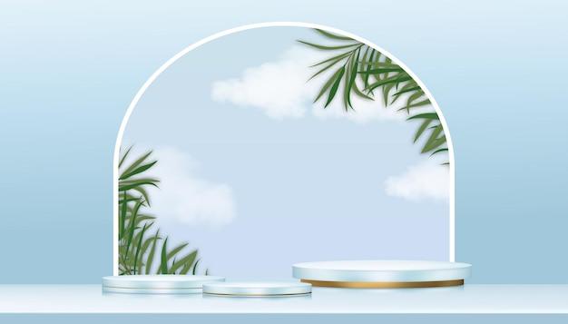 Minimale podium-vitrine mit zylinderständer auf blauem himmel, wolke und palmblättern an der wand. 3d stage podestplattform.