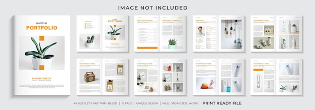 Minimale portfolio-designvorlage oder produktkatalog-designvorlagen-layout