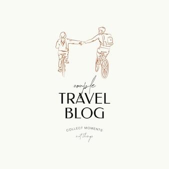Minimale reisevektor-logo-designvorlage für reisebüro-reiseblogger-fotografen
