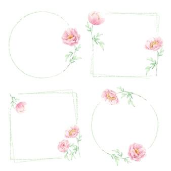 Minimale rosa pfingstrosenblumenstrauß-rahmenkollektion des aquarells