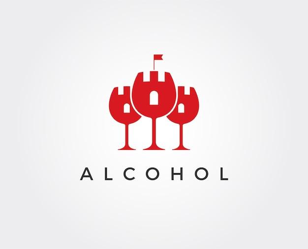 Minimale schlosswein-logo-vorlage