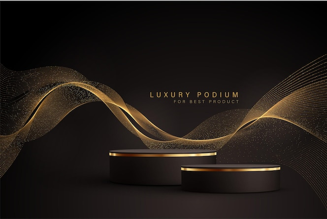 Minimale schwarze szene mit goldenen linien und glitzerstaub