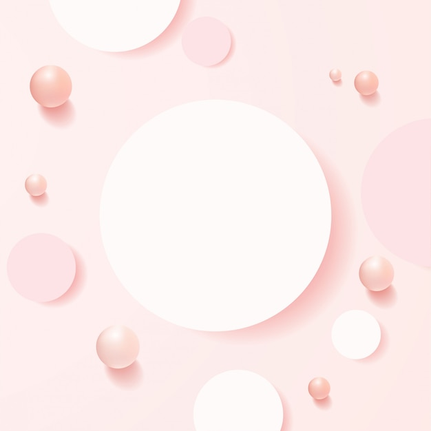 Minimale szene mit geometrischen formen. draufsicht zylinderpodeste im weichen rosa hintergrund mit kugeln. szene, um kosmetisches produkt, vitrine, ladenfront, vitrine zu zeigen. .