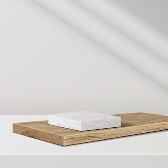 Minimale szene mit geometrischen formen. marmorpodest auf holzpodest mit sonnenlicht auf weißem hintergrund. szene, um kosmetisches produkt, vitrine, ladenfront, vitrine zu zeigen. 3d-illustration.
