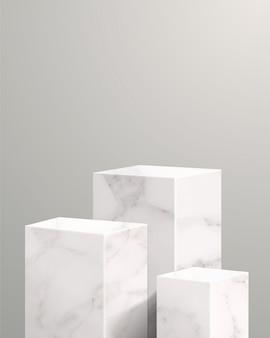 Minimale szene mit geometrischen formen. zylinder- und würfelmarmorpodeste im weißen hintergrund. szene zur präsentation von kosmetikprodukten, vitrine, ladenfront, vitrine und bühne. 3d-illustration.