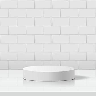 Minimale szene mit geometrischen formen. zylinder weißes podium im weißen keramikfliesenwandhintergrund. szene, um kosmetisches produkt, vitrine, ladenfront, vitrine zu zeigen. 3d-illustration.