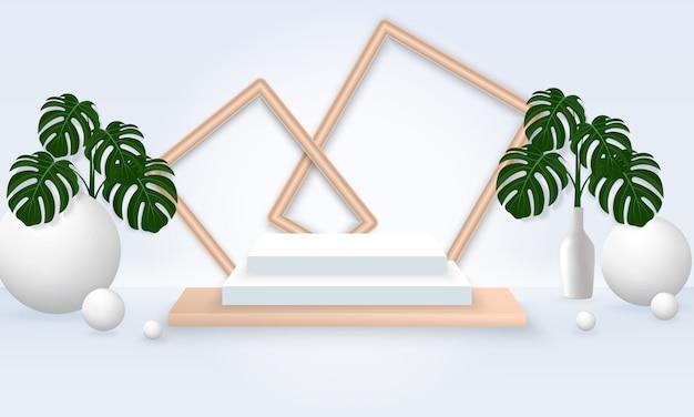 Minimale szenenillustration mit geometriepodest mit rahmen und pflanze