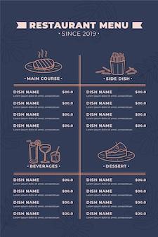 Minimale vertikale formatvorlage des digitalen restaurantmenüs