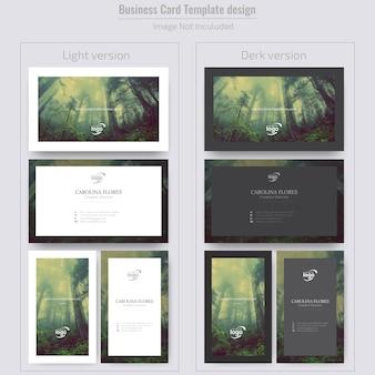 Minimale vertikale und horizontale visitenkarte mit bild