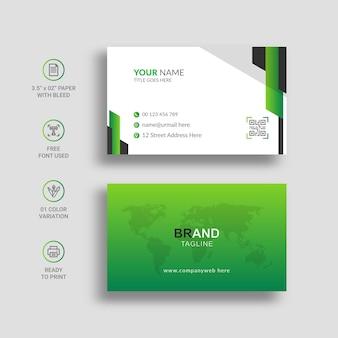 Minimale visitenkarte mit grüner verlaufsfarbe