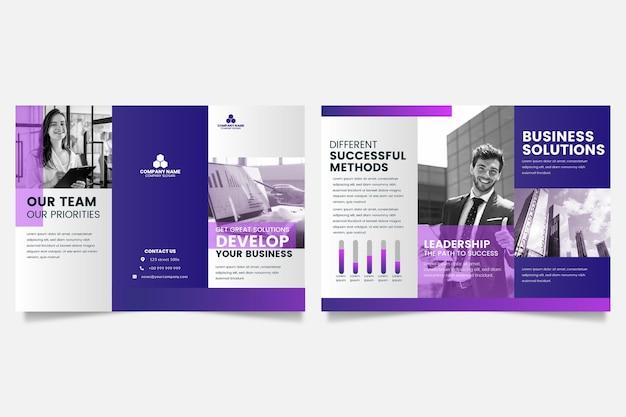 Minimale vorlage für dreifach gefaltete broschüre mit vorder- und rückseite