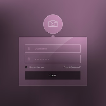Minimaler anmeldeformular vorlage design vektor