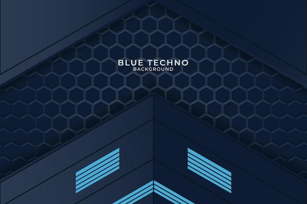 Minimaler blauer techno-hintergrund. illustration abstrakte geometrische form moderner futuristischer premium-vektor