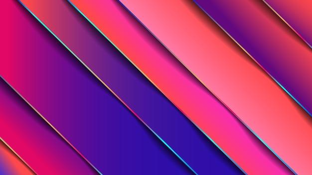Minimaler geometrischer abstrakter lebendiger farbhintergrund, papiereffekt. futuristischer designverlauf mit streifen. abbildungen