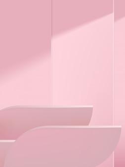 Minimaler geometrischer hintergrund für studioaufnahmen für die produktanzeige, monochrom hellrosa.