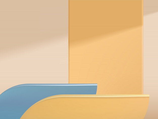 Minimaler geometrischer hintergrund für studioaufnahmen für produktanzeige, blau & pastellorange