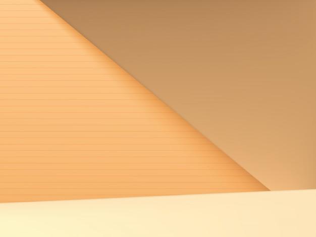Minimaler geometrischer hintergrund für studioaufnahmen für produktanzeige, pastellorange & gelb