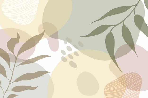 Minimaler handgezeichneter hintergrund mit blättern